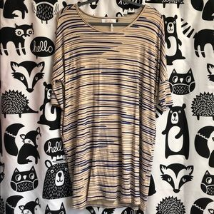 NWT Ava Sky Dress Spade in Beige Paint Stripe - S